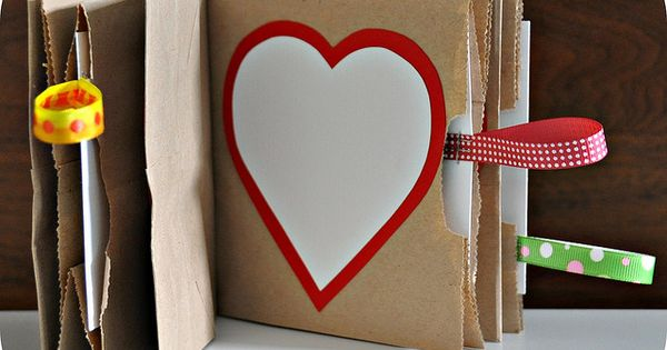 Paper bag books with hidden note compartments - sticker book; sheets of