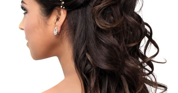 Half up half down dark brown bridal wedding curly long hair style