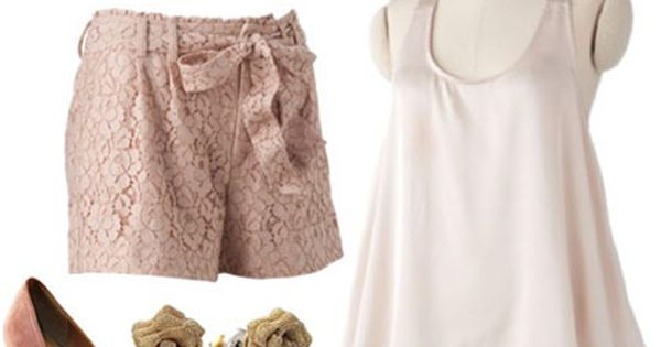 LC Lauren Conrad Spring 2012 Outfit 3: Pink shorts, silk cami, floral