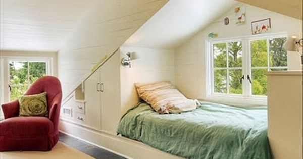 attic bed w/ built-in wall storage, would love to finish dustan's attic