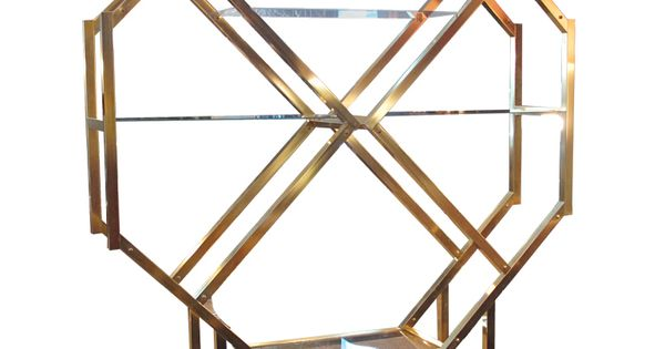Octagonal Brass Etagere In The Style Of Milo Baughman