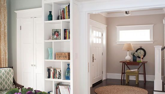 Built-in shelves around the door frame. For dining room entrance to Living