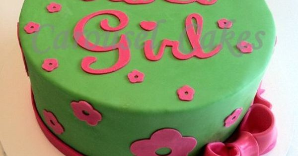 Lime Green And Pink Cake For Baby Shower My Cakes