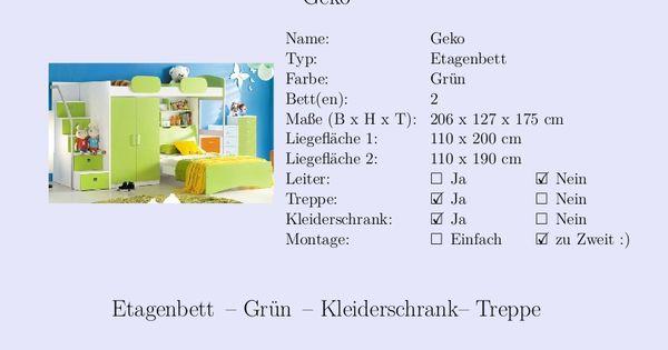 Lovely  Etagenbett Kinderzimmer Gr n Kleiderschrank Treppe Steckbrief Kinderbett Pinterest Cats