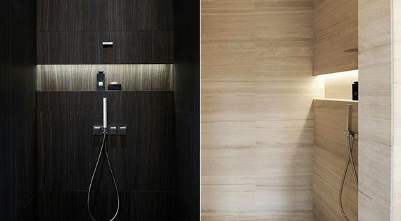 moderne dusche mit eingebaite aufstellfl che und indirekter beleuchtung als moderne badezimmer. Black Bedroom Furniture Sets. Home Design Ideas