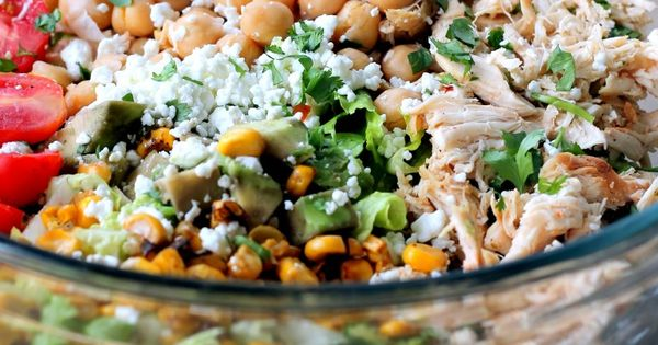 Healthy Chicken Chickpea Chopped Salad from Ambitious Kitchen Ingredients 2 large romaine