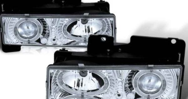 Custom chevy chevrolet headlights halo led chrome great for 03 chevy silverado door speaker size
