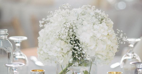 White hydrangea and baby s breath centerpieces erika