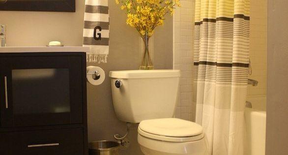 cool black white yellow accent bathroom   black and white tile bathroom with yellow and gray accents ...