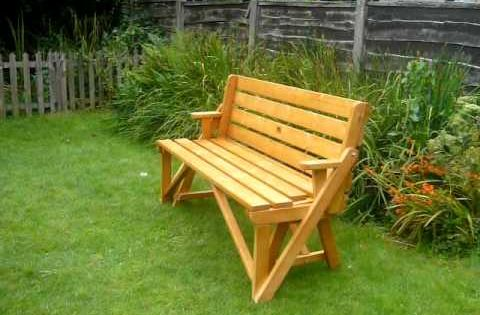 Wooden Bench Turns Into A Picnic Table I Love This Outdoor Ideas Pinterest Picnics The