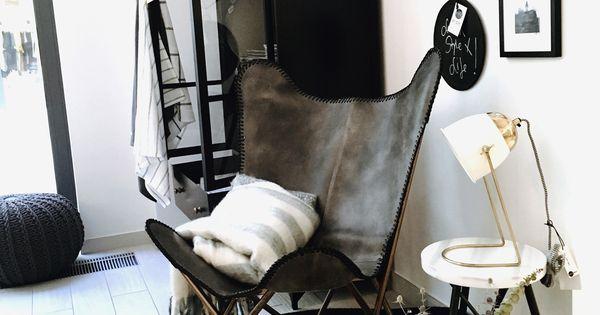 Butterfly Chair Vintage Grau Echtleder Kupfergestell Schmetterling Stuhl Stuhl Polsterstoff Stuhl Neu Gestalten