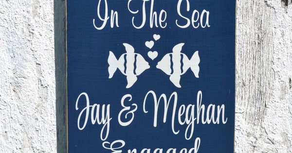 Beach wedding sign two less fish in the sea personalized for Two less fish in the sea