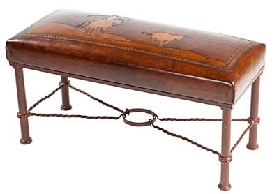 Fernando Iron Bench Cr Sturdy Ranch Bench With A Real Western Theme That Features A Calf Roper Design Hand Car Leather Bench Iron Bench Leather Storage Bench