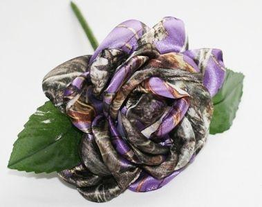 Purple Camouflage Rose Camo Bridal Bouquet Camo Rose Satin