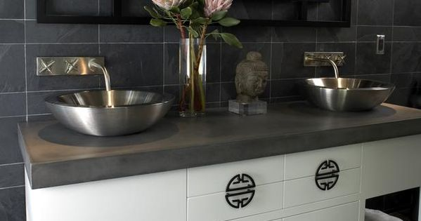 Gray bathroom with zen style clean lines vessel sinks and - Preston hardware bathroom vanities ...