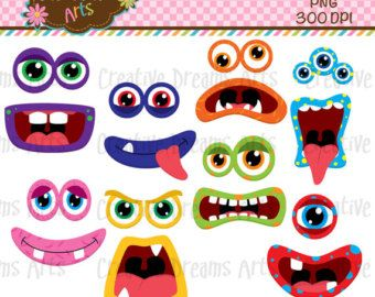 Monster Grins Cute Printable Birthday Party Favors Printable Monster Smiles Monster Faces Monster Face Monster Eyes Halloween Crafts