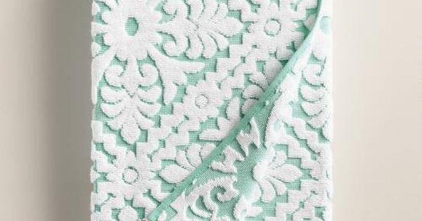 Aqua and coral barcelona tile sculpted bath towel