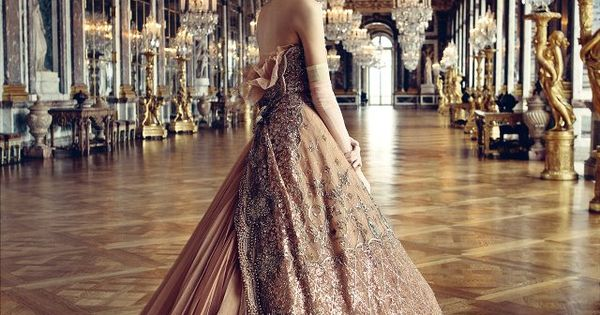 Dior gown, photographed by Patrick Demarchelier in the Château de Versailles