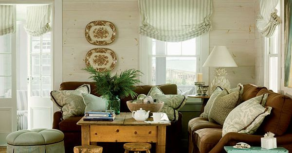 Warm and inviting living room with brown green and blue for Warm inviting colors for living room