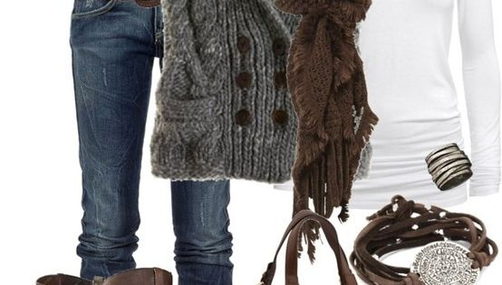 Jeans,white long sleeve,grey sweater vest, brown boots and belt!! fashion outfit style