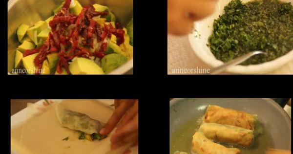 AVOCADO Eggrolls (Vegan) w/ sweet cilantro sauce.