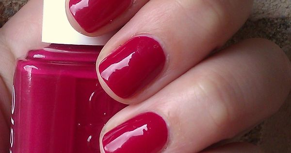 "Essie ""Plumberry"" a creamy berry red with hints of plush pink"