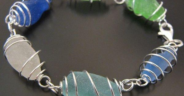 Sea Glass Jewelry, Rare Ocean Blues Genuine Sea Glass Bracelet