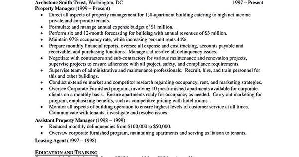 property manager resume should be rightly written to describe your skills as a property manager