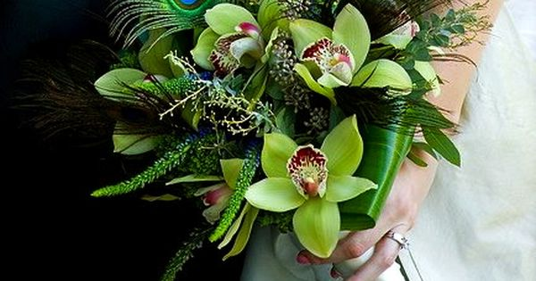 Peacock + Orchid Bouquet || 1920s Flowers. exquisitely subtle color combination, especially