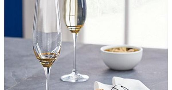 Fox Ivy Gold Platinum Pack Of 4 Champagne Glasses Home Accessories Tableware Home