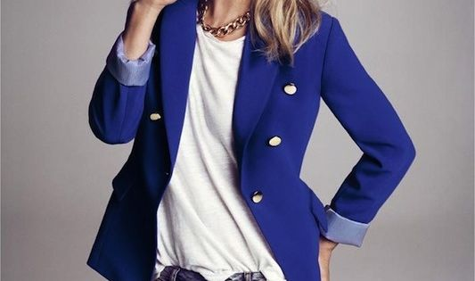 Kate Moss for Mango Autumn 2012 collection - electric blue military inspired