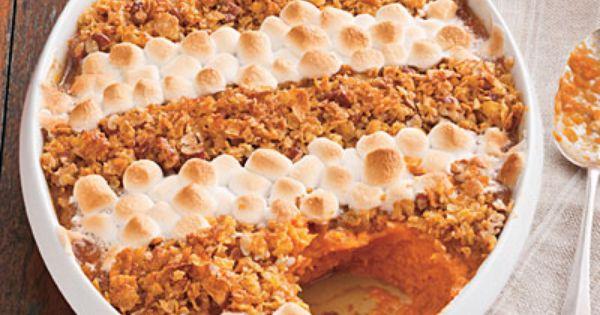 cornflake pecan and marshmallow topped sweet potato casserole