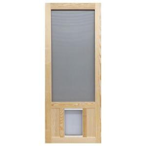 Screen Tight 36 In X 80 In Chesapeake Series Reversible Wood Screen Door With Extra Large Pet Flap Wcpk36xl Wood Screen Door Vinyl Screen Doors Screen Door