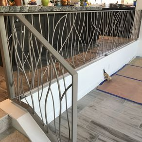 Stair Systems Square Fluted Box Newels With Wood Handrails And