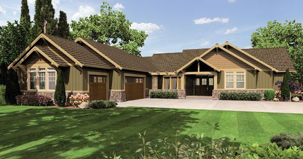 Plan W 1235 The Broderick A 2999 Sq Ft 1 Story Home 77 Ft Wide 99 Ft Deep Craftsman Style House Plans Craftsman House Plans Craftsman House