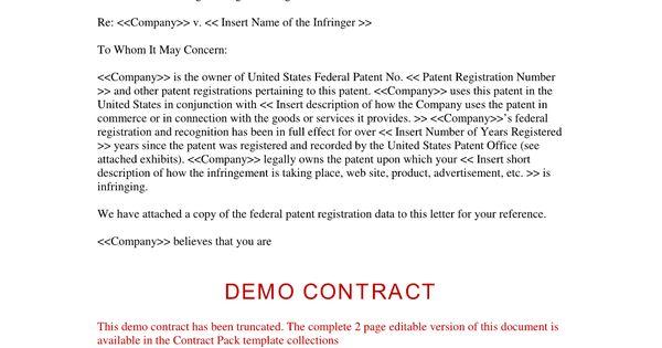 infringement cease and desist form patent Home Design Idea - cease and desist template