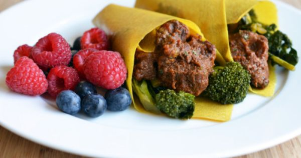 Pure Wraps around oven-braised Mexican beef and stir-fried broccoli ...