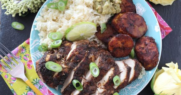 Baked Jerk Chicken with Coconut Rice & Cinnamon Sweet Plantains ...