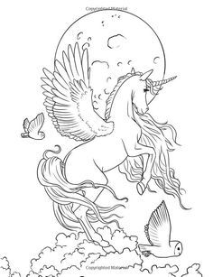 Be Taken Away To A Beautiful And Inspiring World Of Fairies Unicorns And Dragons As You Co Unicorn Coloring Pages Horse Coloring Pages Animal Coloring Pages