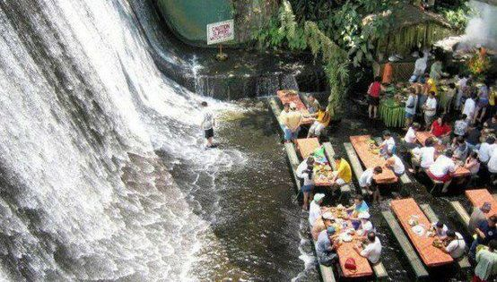 Waterfalls Restaurant inside Villa Escudero; a resort located in Quezon Province, Philippines.