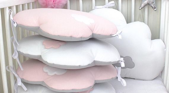 Baby Cot Bumpers For 60cm Wide Bed 5 Cloud Cushions Or Pillows Pale Pink White And Grey Cloud Cushion Baby Cot Bumper Baby Room Decor