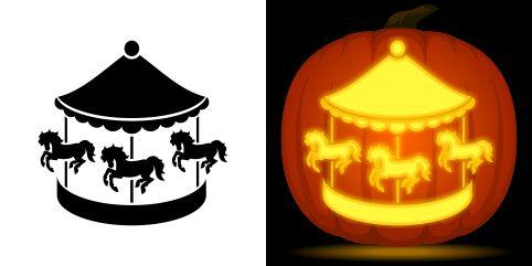 Carousel pumpkin carving stencil free pdf pattern to