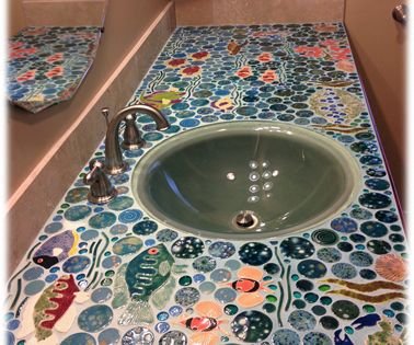 Bathroom ceramic tile mosaic counter top bathrooms for Mosaic tile bar top