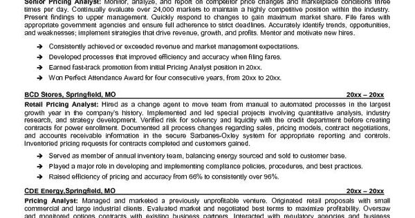 Pricing Analyst Resume Example Sample Of Professional