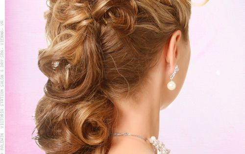 spanish wave weave hairstyles : Retro Southern Belle Glamorous Side Updo for Prom Back View Formal ...