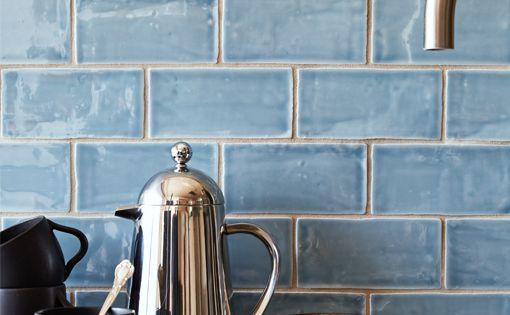 "Beautiful blue handmade tile backsplash Cafe Collection 3""x6"" subway tile in ""water"""