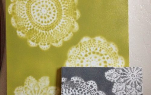 DIY canvas, spray paint and doily art