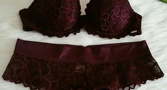 Beautiful new vs pink push up bra panty nwt lencer a for Conjuntos interiores femeninos