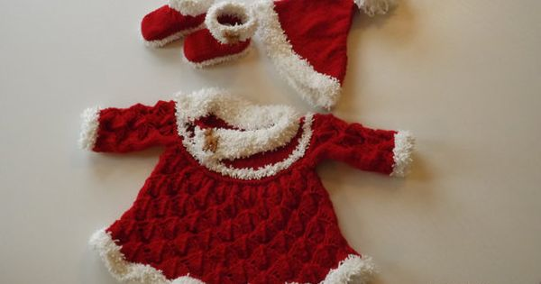 Knit for babys first christmas baby shower pdf knitted santa set dress