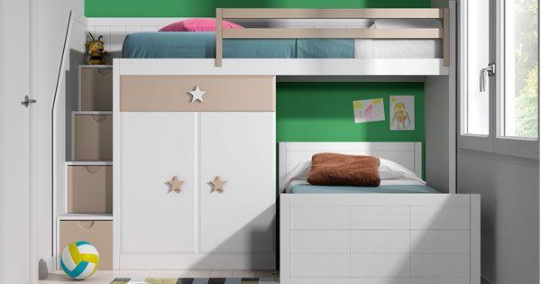 Litera con escalera de pelda os dormitorios juveniles - Literas en angulo ...
